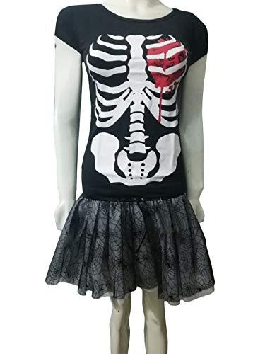 Islander Fashions Frauen Halloween Bloody Skelett Herz gedruckt Shirt und 4 Layer Spider Rock Set schwarz EU 46