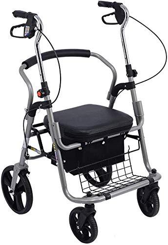 Ouderen walker Drive Rollator Walker Met Seat, 4 Wielen Medical loophulpmiddelen Opvouwbaar, Heavy Duty Rollator Walker Lichtgewicht kwaliteit aluminium legering Frame, gebruikt for senioren revalidat