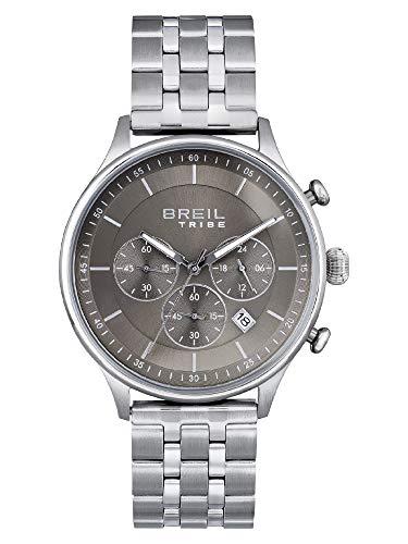 BREIL - Reloj de hombre de la colección CLASSY EW0498 - Reloj de pulsera Chrono Gent con esfera analógica color gris - Movimiento PE902 SUNON - Reloj de cuarzo - Correa de acero