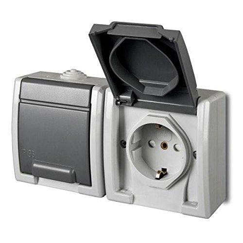 Opbouw, Schuko, dubbel stopcontact, IP55, kleur grijs, vochtige ruimtes, aquant