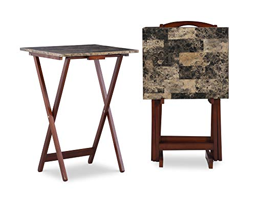 Linon Home Decor Tray Table Set, Faux Marble, Brown