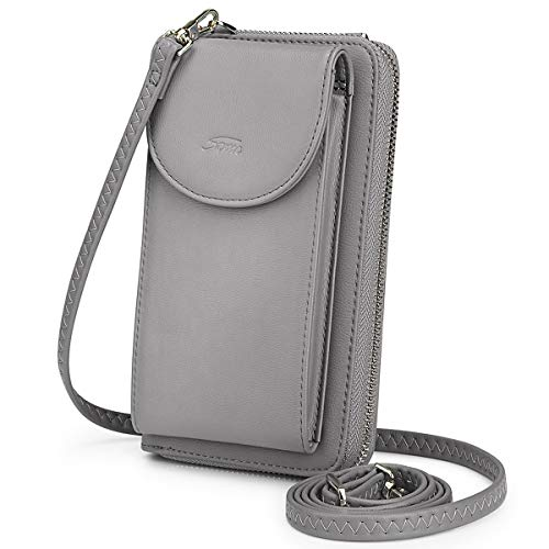 S-ZONE Crossbody Cell Phone Bag PU Leather RFID Blocking Wallet Women Small Messenger Shoulder Mini Purse with Credit Card Slots