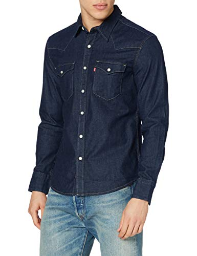 Levi's Barstow Western Slim Shirt, Red Cast Rinse Stretch, M Homme