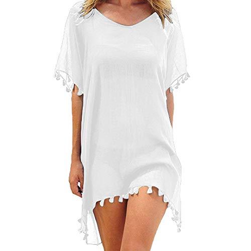 heekpek Damen Strandkleid Sommerkleid Bikini Cover Up Fransen Strandkleid Sommer Bademode Longshirt Tunika Strandponcho