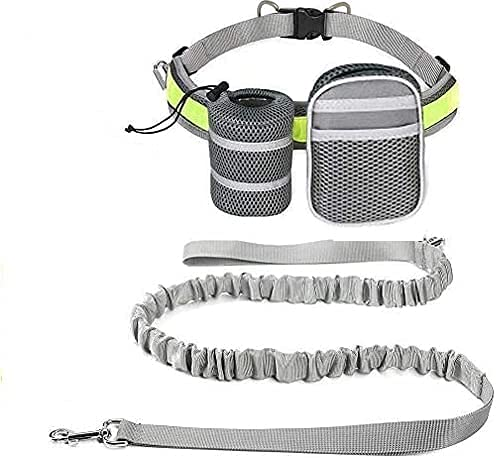 EDUPLINK Retractable Dog Leash Hands Free Dog Leash for 331Lb Pull+ Adjustable Belt+ 2 Sundries Pocket for Training/Running/Walking (Grey)