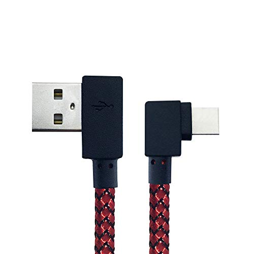 MKDMiD 2 Pack 90-degree Right Angle Braided USB Cable,3.3FT USB Data Sync Charge Cable Compatible with Phone X/8/8Plus/7/7 Plus/6S/6 (Right angle/Red)