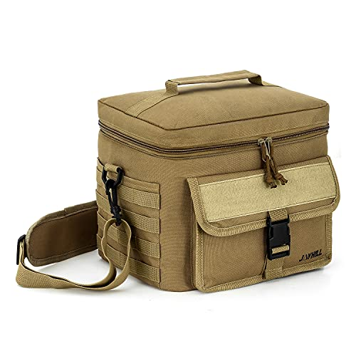JOYHILL Tactical Lunch Bag, Insulated Lunch Bag for Men Adult, Thermal Lunch Bag Lunch Cooler with Should Strap, Large Lunch Box Bag Meal Prep Lunch Cooler for Work School Picnic-Sandy