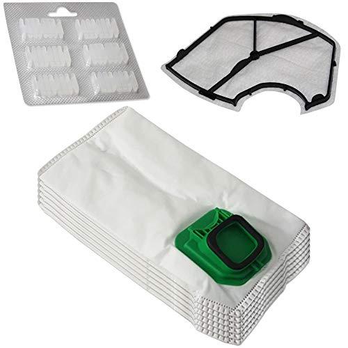 Juego de 6 bolsas de microfibra + 6 ambientadores + filtro de protección del motor adecuado para Folletto Vorwerk Kobold 140, 150, VK 140, VK 150, VK140, VK150, FP140, FP150, con cierre higiénico