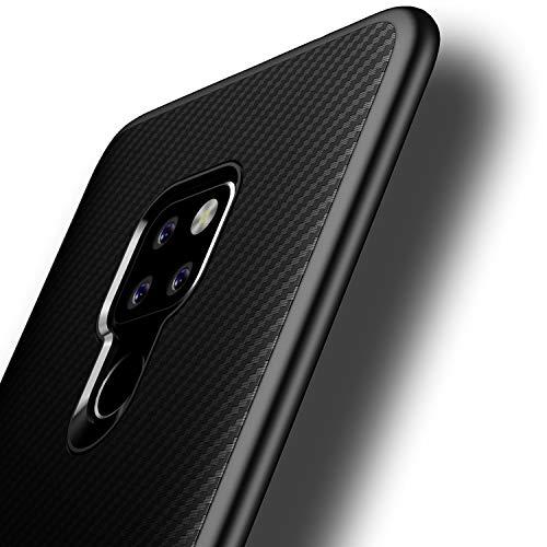 Losvick Cover Compatibile con Huawei Mate 20, Ultra-Sottile TPU Silicone Morbida Custodia Fibra di Carbonio Anti-graffio Anti-Scivolo Antiurto Protettiva Bumper Case per Huawei Mate 20 - Nero