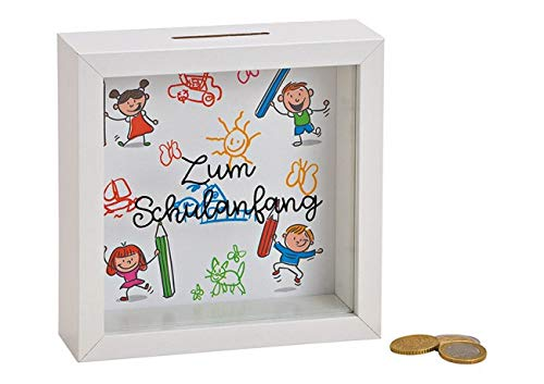 Topshop24you wunderschöne Spardose zur Einschulung / Schulanfang, zum Hängen oder Stellen aus Holz in weiß