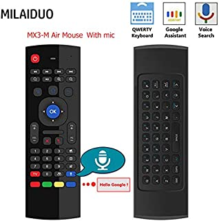 Calvas MX3-A MX3-M Air Mouse MX3 Remote Control with Voice 2.4G RF Wireless Keyboard For Tx3 Mini A95X X96 T95Z Plus Android TV Box - (Color: EN W Mic No Backlit)