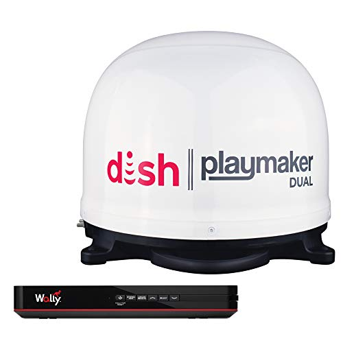 Winegard PL-8000R Dish Playmaker Dual with Wally HD Receiver Bundle - White
