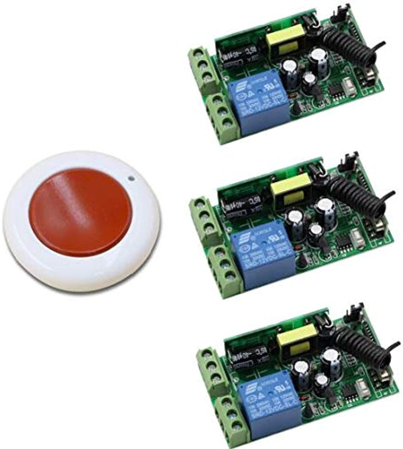 Best Price AC 85V 110V 220V 250V 1CH RF Wireless Remote Switch System 10A Relay Receiver & Round Transmitter for Smart Home  (color  3receiver 433mhz)