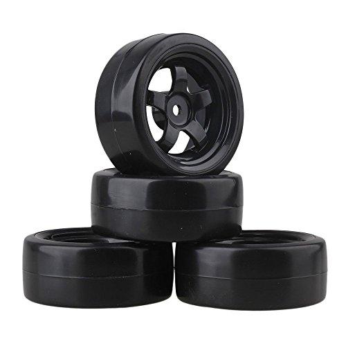 Mxfans 65 mm OD schwarze Kunststoff-Felgen mit 5 Speichen und glatten Reifen für RC 1:10 On-Road-Rennwagen und Drift-Auto, 4 Stück