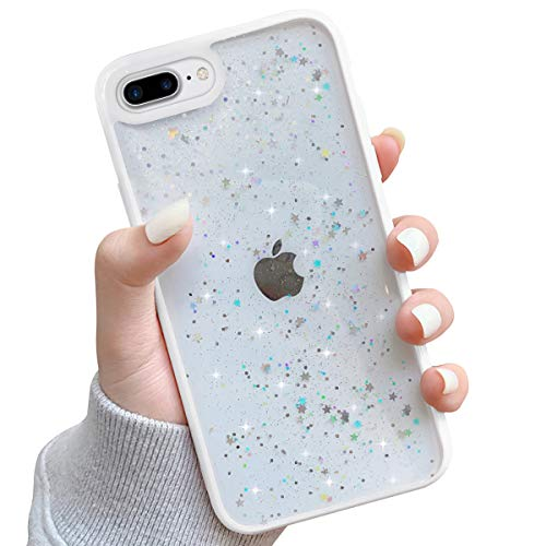 Ownest Compatible with iPhone 7 Plus Case,iPhone 8 Plus Case,Clear Sparkly Bling Star Glitter Design for Women Girls TPU Shockproof Anti-Scratch Cases for iPhone 7 Plus/8 Plus-(White)