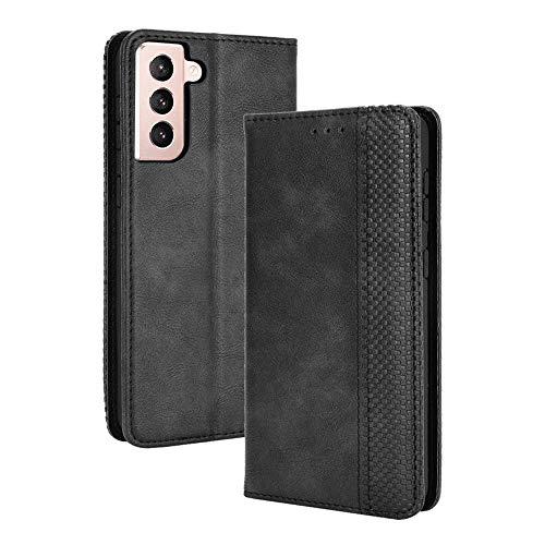 subtel Carcasa Compatible con Samsung Galaxy S21 Plus (SM-G996) Cuero PU Flip Cover Tapa Funda Flip Tipo Libro Flip Case con Ranuras para Tarjetas Negro