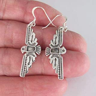 925 Sterling Silver 33mm Thunderbird Dangle Earrings 082 - Jewelry Accessories Key Chain Bracelet Necklace Pendants