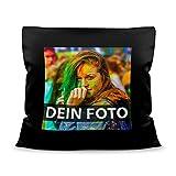 Tassendruck Foto-Kissen Selbst gestalten (38 x 38 cm) - Schwarz - mit Foto individuell...