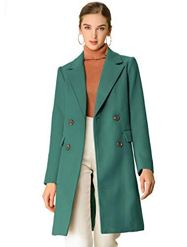Allegra K Women's Notch Lapel Double Breasted Belted Mid Long Outwear Winter Coat X-Large Green
