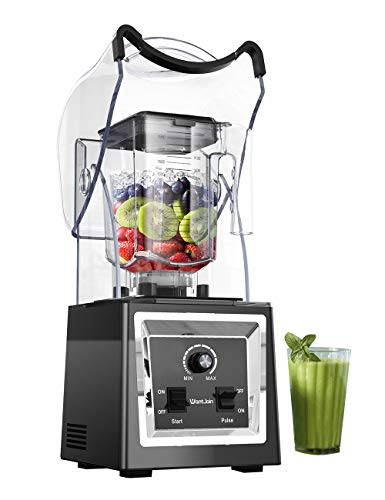 Wantjoin Professional Blender Commercial Soundproof Quiet blender Removable shield for Crushing ice,smoothie,puree,sauce,salsa. Blender for kitchen