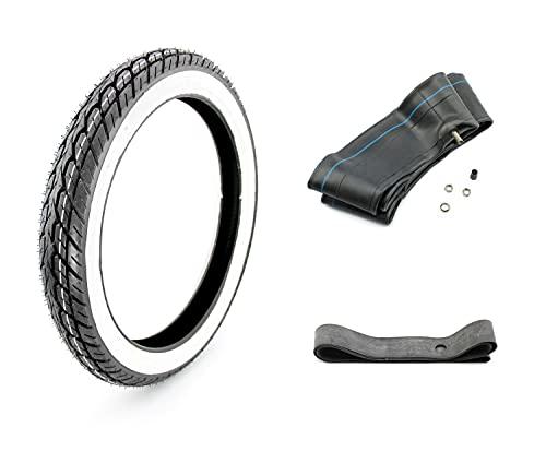 3-teiliges Set KENDA K418 4PR Weißwand Reifen 2,75 x 17 Zoll 41P TT + Schlauch & Felgenband für Kleinkraftrad und Motorrad