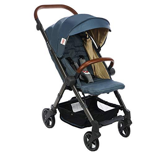 Buggy Kinderwagen Buggy Klein Zusammenklappbar Liegeposition mit Sonnenverdeck und Rückenlehnenverstellung Shopper (BIANCHI - Blue)