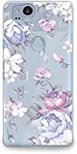CasesByLorraine Compatible with Google Pixel 2 Case, Purple Floral Flower Pattern Clear Transparent Flexible TPU Soft Gel Protective Cover for Google Pixel 2 5.0