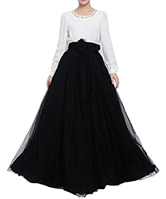 Women Wedding Long Maxi Puffy Tulle Skirt Floor Length A Line with Bowknot Belt High Waisted for Wedding Party Evening(Black,Small-Medium)