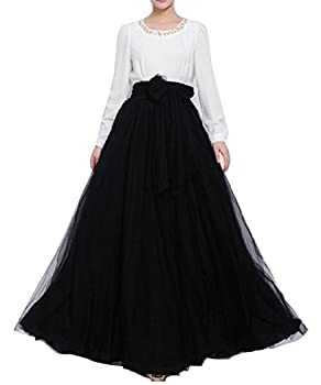 Women Wedding Long Maxi Puffy Tulle Skirt Floor Length A Line with Bowknot Belt High Waisted for Wedding Party Evening Black,Large-X-Large