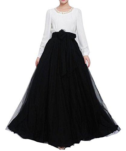 YULUOSHA - Falda de tul larga para mujer, longitud hasta el suelo, con lazo, talle alto, para bodas, fiestas, noche Negro Negro ( 48/56 ES/más