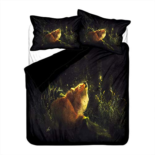 HNHDDZ Duvet Cover Pillowcase 3D Animal Fox Bedding set Jungle Trees Snow Scene Gray Green White Black Microfiber Child Boy Girl Zipper (Style 4,Super King 220x260 cm)