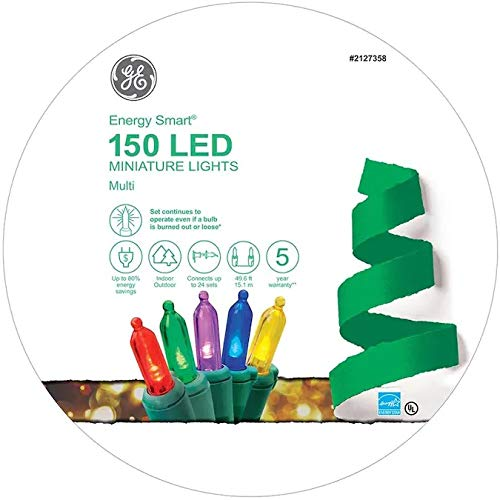 GE Energy Smart 150-Count 49.6-ft Multicolor LED ConstantON 5.5-MM Colorite Plug-in Christmas String Lights 97145LO