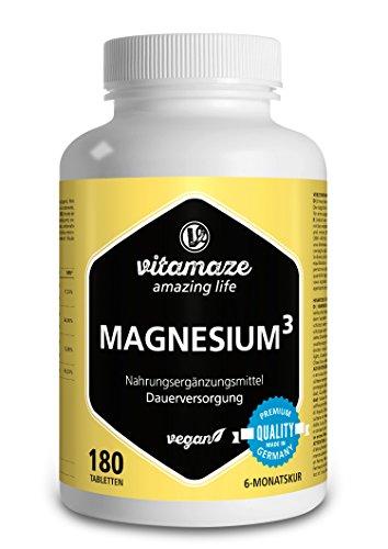 Vitamaze Magnesio³ Complesso 350 mg di magnesio elementare 180 compresse vegane- citrato di magnesio + carbonato di magnesio + ossido di magnesio - eccellente biodisponibilità