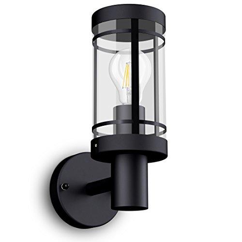 SSC-LUXon® Wandlaterne MIENTO wetterfest IP44 - rostfreie Außenleuchte in schwarz inkl. LED OSRAM Retro Birne E27 6W warmweiß