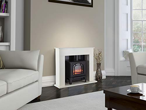 Warmlite WL45037W Electric Ealing Fireplace Suite with Adjustable Thermostat Control, 2 Heat Settings, LED Flame Effect, Safety Cut-Out System, White