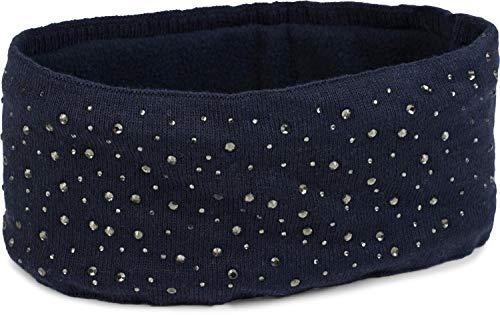 styleBREAKER Diadema de Punto Fino para Mujeres con aplicación de Tachuelas de Strass y Forro Polar Suave, Banda para el Cabello, Cinta para la Cabeza 04026003, Color:Azul Oscuro