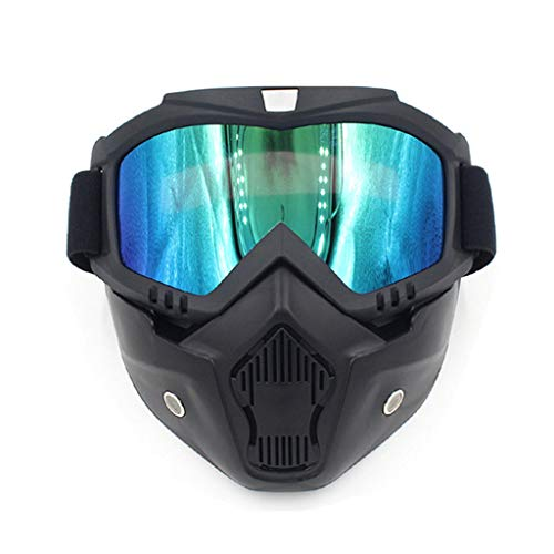 Congchuaty Afneembare Modulaire Skihelm Open Mask Shield Goggles Winddicht Zanddicht Blauw