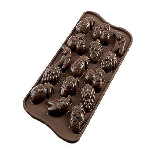 Silikomart 22.132.77.0065 Moule en Silicone, Thème Fruits pour Chocolat, Marron, 2 x 10,5 x 21,5 cm