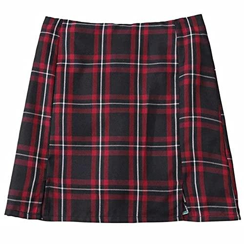 Falda de Mujer a la Moda de Verano de Colores Mezclados Minifalda Duradera Estilo gótico de Cintura Alta Bolso a Cuadros Falda de Cadera para la Escuela