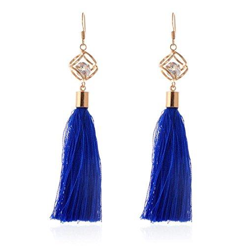Pendientes Borla Mujer, FAMILIZO Estilo vintage Rhinestones Crystal Tassel Dangle Stud Pendientes de joyería de moda Pendientes Mujer Largos (Azul)