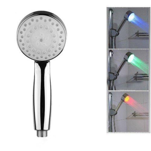 Alcachofa de Ducha Coco Digital Moderna con Luces LED de 7 Colores Que Cambian de Color, Cabeza Fija Cuadrada de 20 cm en Acabado Cromado - Como el Mostrado, Redondo