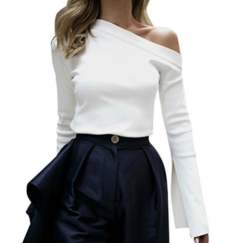 Kolylong® Sweatshirt Damen Frauen Elegant Schulterfrei Oberteil Vintage Langarm Bluse mit Trompetenärmel Slim Fit Shirt Off Shoulder Pullover Jumper T-Shirt Tunika (Weiß, M)