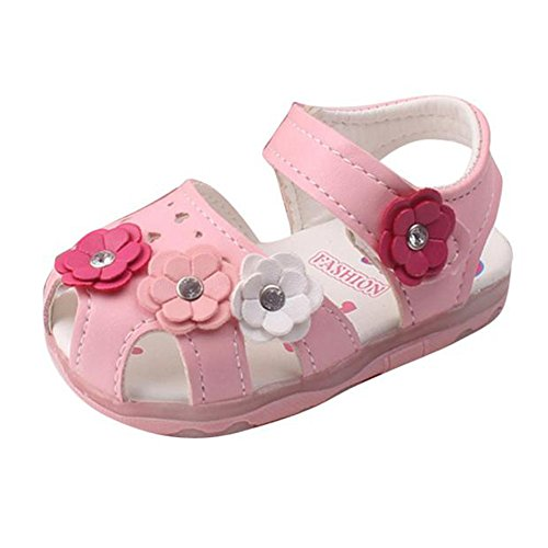 Amlaiworld Babyschuhe, Kleinkind Blumen Mädchen Sandalen beleuchtet weichen Sohlen Prinzessin Baby Schuhe (18, Rosa)
