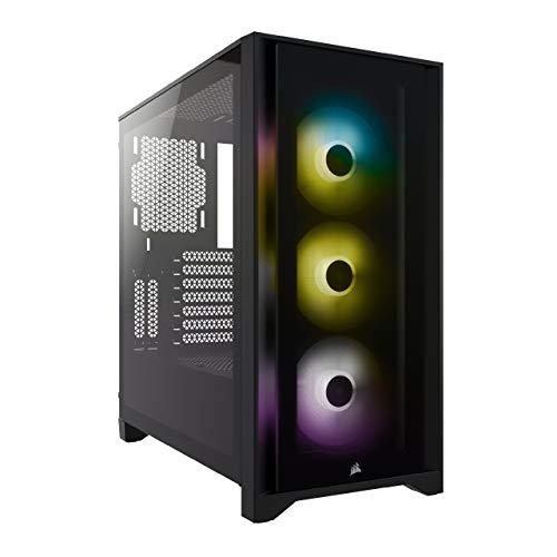 Corsair iCUE 4000X RGB Chasis ATX Semitorre con Cristal Templado, Paneles Frontal y Lateral de Cristal Templado, Espacioso Interior, Tres Ventiladores RGB de 120 mm Incluidos, Color Negro