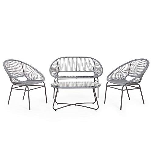 VonHaus Rattan Sofa Set – Rope Style Rattan Wicker with Glass Top Table – Weatherproof – Acapulco Outdoor Garden Furniture for Patio, Decking, Balcony, Conservatory - Grey