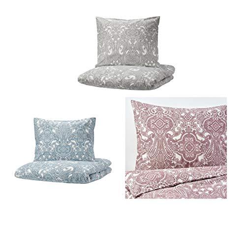 IKEA JÄTTEVALLMO Bettwäsche Sets Grau Blau Rosa 140 155 200 240cm (140x200cm Kissen 80x80cm, Grau)