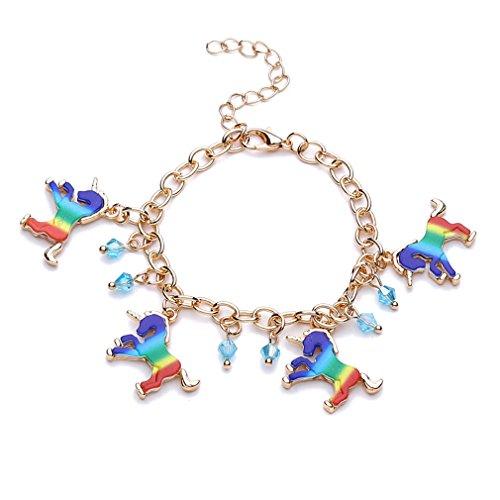 HENGSONG Elegante Bunt Einhorn Armband Legierung Einhorn Armreif Armkette mit Anhänger für Damen Mädchen Schmuck Geschenk