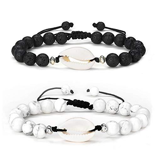Lava Rock Ankle Bracelets for Women - 2 PCS White Howlite Lava Rock Shell Anklet Bracelet Set, Essential Oil Diffuser Yoga Anxiety Mens Bracelet Anklet Handmade Beach Anklets for Women Men Gifts