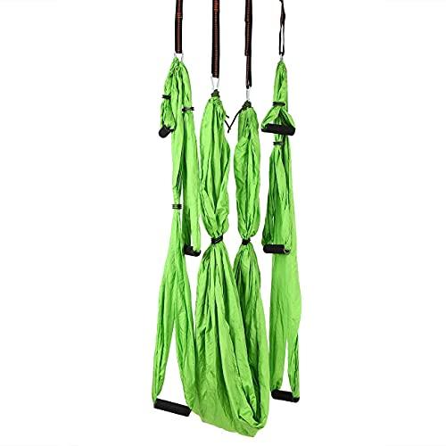 Conjunto de swing de yoga aéreo con bolsa de transporte, 4 carabines de acero, 6 asas, yoga profesional de la correa de vuelo, hamaca de yoga para el hogar para pilates en forma de cuerpo verde