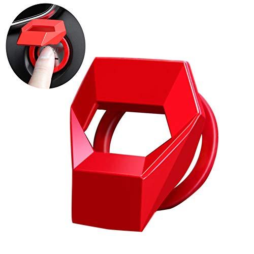 Manzelun Engine Push Start Button Cover Car Accessories,Cool Aluminum Alloy Interior Gadgets Decorations,Anti-Scratch Universal Car Stuff (Red)
